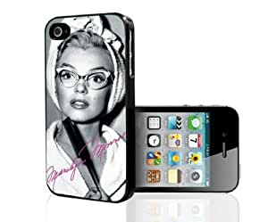 Pretty Black, White and Hot Pink Marilyn Monroe in Cat Rimmed Glasses Hard Snap on Phone Case (iPhone 4/4s)
