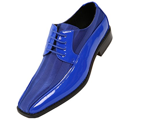 Viotti Men's Formal Oxford Dress Shoe Striped Satin and Patent Tuxedo Classic Lace Up With or Without Tip Style 179/5205