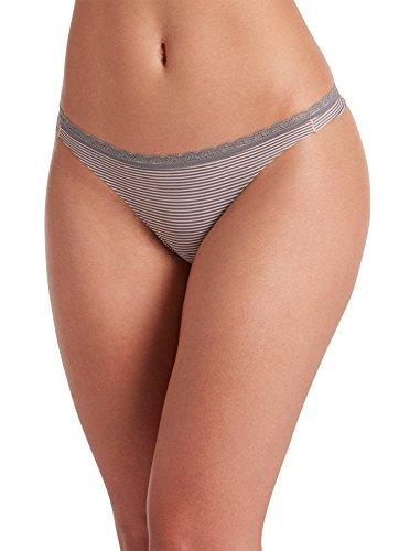 Jockey Women's Underwear Wonder Edge Invisible Thong, Pink Grey Stripe, L - Edge Thong
