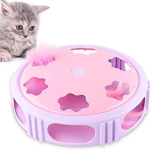 Petbobi Interactive Cat Toys Timer with Bell Spinning Rotating Feather for Cat Entertainment Feather Teaser Cat Toy…