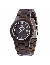 Morrivoe Mens Natural Wood Watches 43mm Case Analog Date Display Japan Quartz wristwatches Gift (Black)