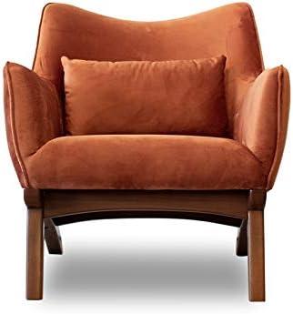 Pemberly Row Mid-Century Modern Gatsby Orange Velvet Lounge Chair