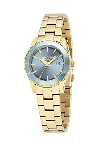 Just Cavalli Reloj de cuarzo Just In Time Mujer con esfera analógica Azul Pantalla y Correa de Acero Inoxidable Color Azul r7253202501