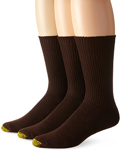Gold Toe Men's Cushion Foot Fluffie Sock, 3-Pack, Brown, Sock Size - And Brown Gold