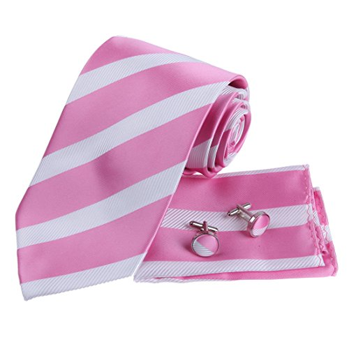 (Pink White Stripes Woven Silk Tie Hanky Neck Tie for Him Cufflinks Set with Presentation Box PH1012 One Size Pink,white)
