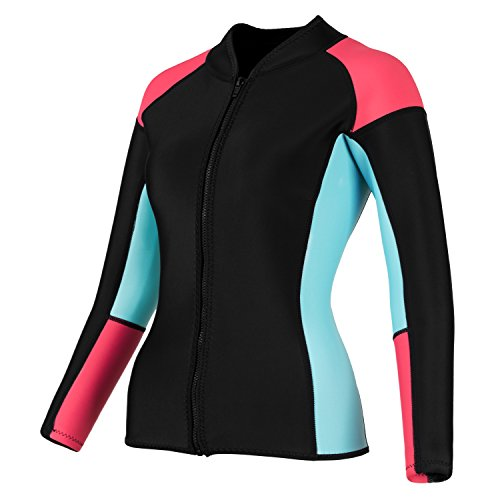 EYCE DIVE & SAIL Womens 3/2 mm Wetsuits Jacket Long Sleeve Neoprene Wetsuit Top (Coral/Blue, 2XL = US 10)