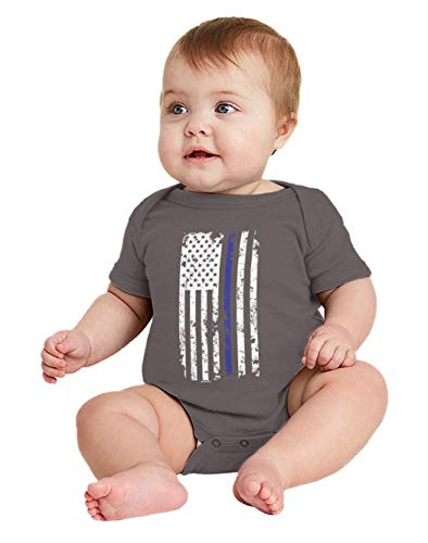 American Girl Infant Creeper - HAASE UNLIMITED Blue Line American Flag - Support Police Bodysuit (Charcoal, 24 Months)