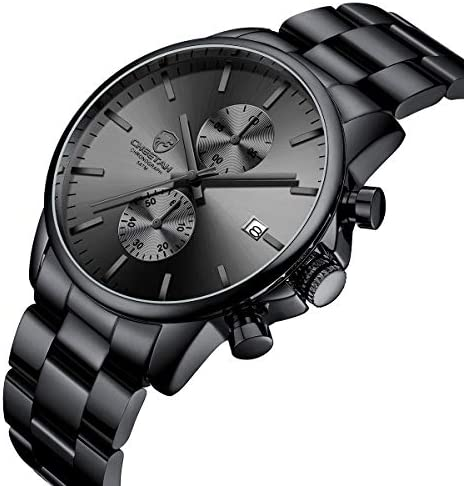 GOLDEN HOUR Fashion Business Mens Watches with Stainless Steel Waterproof Chronograph Quartz Watch for Men, Auto Date WeeklyReviewer