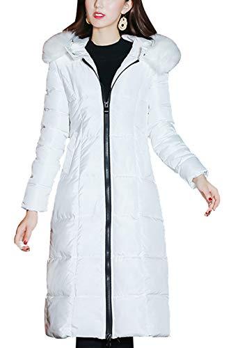 chouyatou Women's Winter Windproof Padded Long Down Alternative Coat Faux Fur Hood (X-Small, White)