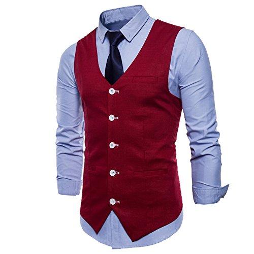 Uni Fit Mariage Pour Slim Rouge Gilet Costume Casual Homme Couleur Élégant nwIqnzBFO