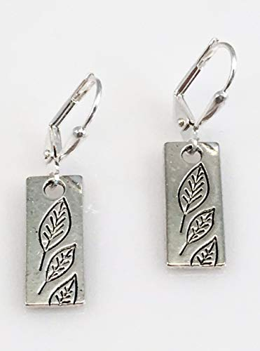 Antiqued Pewter Rectangle of Leaves Earrings ()
