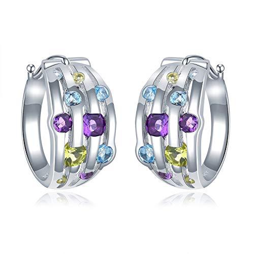 Gemstone Hoop Earrings 925 Sterling Silver Natural Amethyst Peridot Blue Topaz Fine Jewelry for Women's Gift New