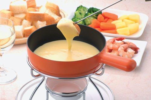 パール金属プレシャスふっ素加工チーズフォンデュ鍋セットオレンジH-2558