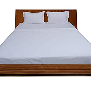 BudgetLinen 4PCs Juego de sábanas(Blanco, Super King Size 180x200 cm- (6 ft x 6ft 6in), Pocket Size 30cm) 100% de algodón Egipcio 600 número de Hilos