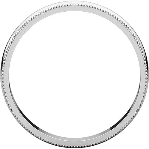 Mens 14K White Gold 3mm Light Milgrain Half Round Wedding Band Ring