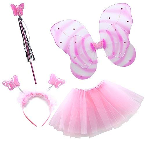 Girl's Halloween Costume Butterfly LED Light Fairy Angel Wings and Dress Glow in The Dark