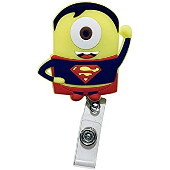 482b602d1 Swivels - Cartoon Retractable Badge Reel - Holder for ID and Name Tag with  Alligator Clip (Minion Superman)