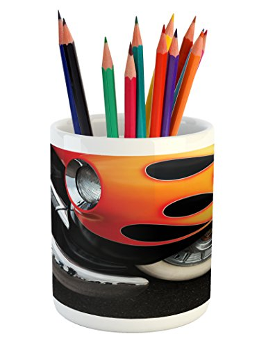 Lunarable Manly Pencil Pen Holder, Flames Chrome Wheels Fender Fast Speedy Horsepower Historical Shows Motoring, Printed Ceramic Pencil Pen Holder for Desk Office Accessory, Black Orange Red