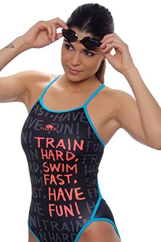 Turbo Sport Bañador Train Hard Thin Strap para schwimmerinnen Water Polo Triathlon - Espaguetis Bañador Portador, Negro Azul: Amazon.es: Deportes y aire ...