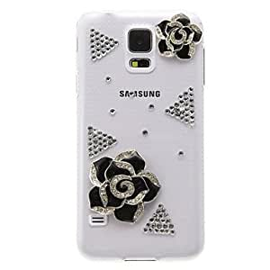 LZXTransparent Pattern Black Camellias Plastic Hard Back Case Cover for Samsung Galaxy S5 I9600
