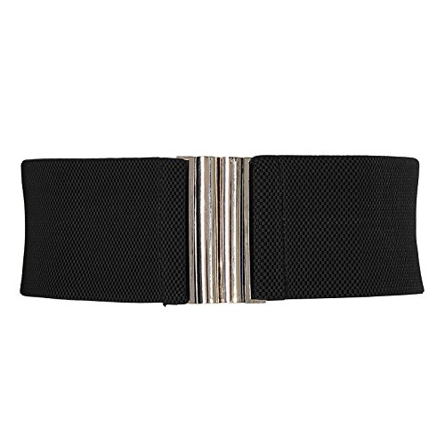 Women's Wide Stretchy Cinch Belt Vintage Elastic Waistband (S,Black CL409-1) - Elastic Cinch Belt