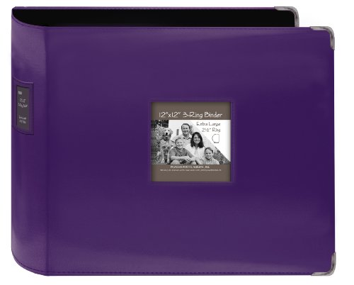 Pioneer Sewn Leatherette 3-Ring Binder 12''X12''-Bright Purple by Pioneer