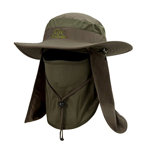 YR.Lover Outdoor UV Sun Protection Wide Brim Fishing Cap -Men and Women Face Cover Summer Removable Mesh Neck Face Flap Gardener Hat for Outdoor Sports & Travel