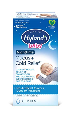 Hyland's Baby Mucus and Cold Relief, Nighttime, Loosens Mucus, Relief of Congestions and Occasional Sleeplessness, 4 Fl Oz (Packaging May Vary) ()