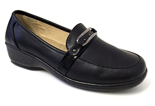 Napl-03 Womens Loafers Hotel Restaurant Walking Slip on Comfort Work Shoes Slip Resistant, Black Black