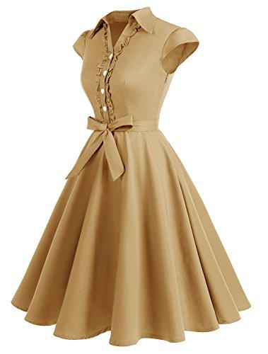 Wedtrend Women's 1950s Cap Sleeves Swing Vintage Party Dresses Multi Colored WTP10007TurmericM