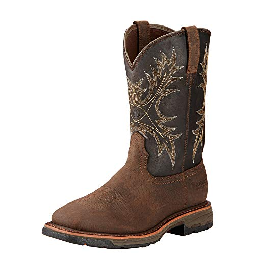 Ariat Men's Workhog Wide Square Toe H2O Work Boot, Bruin Brown, 13 D US