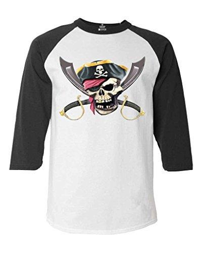 Shop4Ever Pirate Skull Scimitars Baseball Shirt Pirate Flag Raglan ShirtLarge White/Black 11519