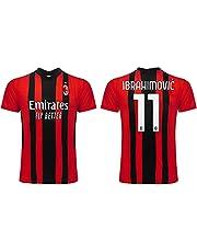 Voetbalshirt Milan Seizoen 2021 2022 Ibrahimovic nummer 11 Eerste shirt gelicentieerd product in het Verenigd Koninkrijk officiële replica voor volwassenen en kinderen.