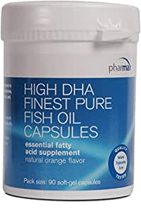 Pharmax - High DHA Finest Pure Fish Oil Vegetable Capsules - Supports Vision, Brain, and Cardiovascular Health* - 90 Softgel Capsules