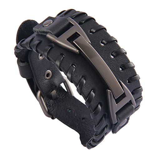 Jenia Punk Leather Cuff Bracelet Braided Bracelets Rock Leather Wristbands Adjustable Gothic Wrap Bracelet for Men, Boy, Women]()