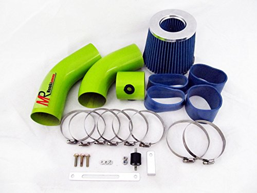 99 00 01 02 03 04 05 Pontiac Grand AM 3.4L V6 Green Piping Cold Air Intake System Kit with Blue Filter