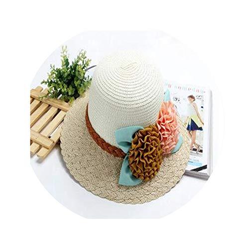 (Adult Summer Straw Hat Cap Girls Foldable Wide Large Flower Floppy Beach Hats Travel Bucket Sun Caps)