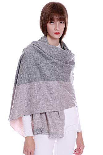 women scarves 100% cashmere scarf wraps& shawls blanket Pashmina extra large constrast color (grey& ()