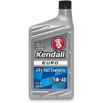 Kendall 1060743 GT-1 Euro 5W-40 Full Synthetic Motor Oil - 1 Quart