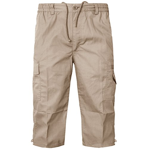 Para hombre BIG maletero smart casual cool bolsillo multiuso 3/new FULL 4 pantalones cortos para adaptarse al cuerpo 3XL 4xl 5xl 6xl Beige