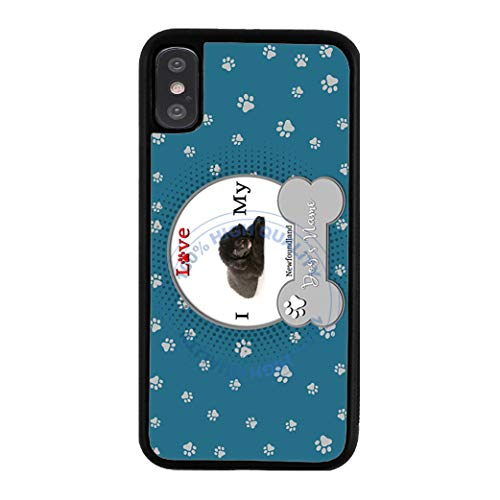 BleuReign Personalized Custom Name I Love My Dog Newfoundland Rubber Phone Case for Apple iPhone Xs Max
