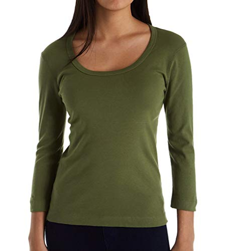 Spanish Dots - Three Dots 3/4 Sleeve Scoop Neck Tee (AA4S041) L/Spanish Olive