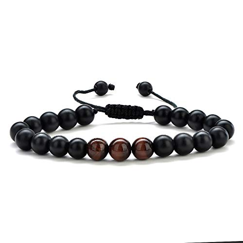 Mens Bracelet Red Tiger Eye - 8mm Natural Stone Mens Bracelet Red Tiger Eye Black Matte Agate Bead Bracelets for Women Men, Healing Yoga Bracelets Birthday Gifts for Men Retirement Gifts for Men]()