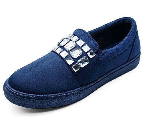 Mujer Azul Marino Plano Sin Cordones Libélula Color Zapatillas Informal Cómodo Mocasines Zapatillas Número 3-8 - Azul Marino, 42 EU: Amazon.es: Zapatos y ...