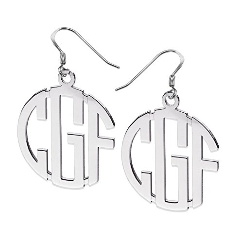 Ouslier Personalized 925 Sterling Silver Block Monogram Drop Earrings Custom Made with Any 3 Initials (Silver) (Block Earrings For Men)