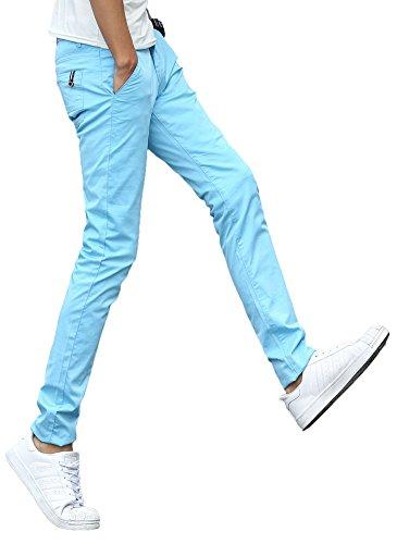 - Plaid&Plain Men's Stretchy Khaki Pants Light Blue 33