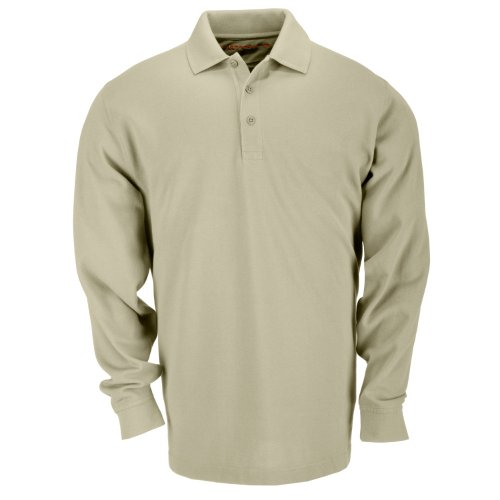 5.11 Tactical #72360 Tactical Polo Long Sleeve Tshirt (Silver Tan, Large)