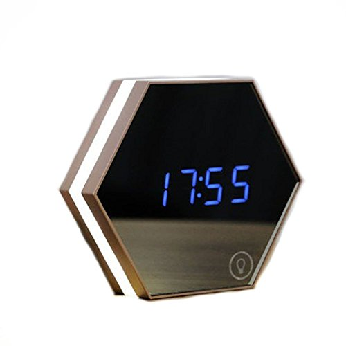 IREALIST Rechargeable Digital Alarm Clock with Make-Up Mirror Light & Thermometer