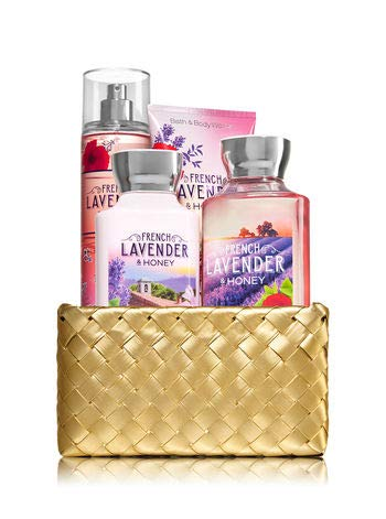 Lavender Kit Bath (Bath and Body Works FRENCH LAVENDER & HONEY Gold Woven Basket Gift Kit)
