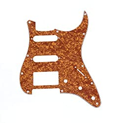 Musiclily HSS 11 Hole Strat Electric Guitar Pickguard for Fender US/Mexico Standard Stratocaster Modern Style Guitar Parts, 4Ply Pearl Earthy Yellow